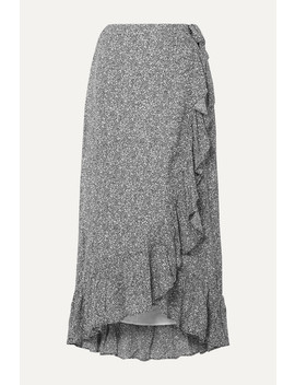 Lucky Ruffled Printed Crepe Wrap Skirt by Anine Bing