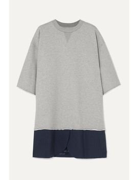 Oversized Cotton Jersey And Pinstriped Crepe Mini Dress by Mm6 Maison Margiela