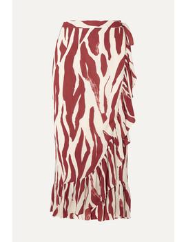 Lucky Ruffled Zebra Print Crepe Wrap Skirt by Anine Bing