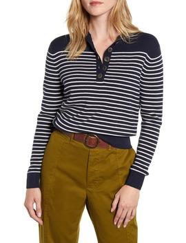 Marine Stripe Crop Merino Wool & Cotton Sweater by Alex Mill