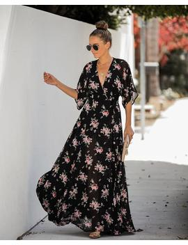 Every Rose Swiss Dot Wrap Kimono Maxi Dress   Final Sale by Vici