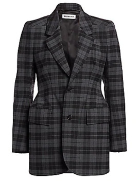 Hourglass Wool Blend Plaid Jacket by Balenciaga
