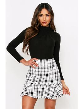 Checked Tweed Frill Mini Skirt Checked Tweed Frill Mini Skirt by Misspap