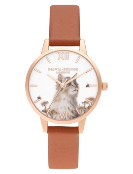 Illustrated Animals Faux Leather Strap Watch, 30mm by Olivia Burton