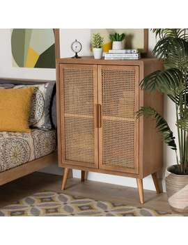 Alina Mid Century Modern Oak Finished Accent Storage Cabinet by Baxton Studio