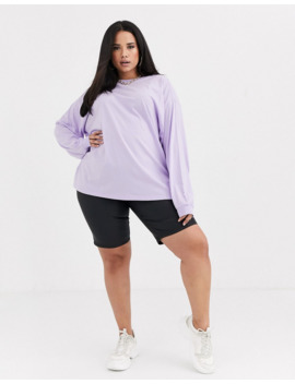 Asos Design Curve –&Nbsp;Oversize T Shirt Mit Langen Ärmeln In Kühlem Lila by Asos