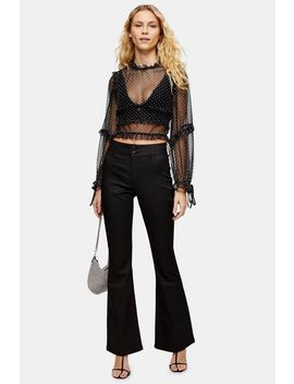 Black Coated Flare Jeans by Topshop