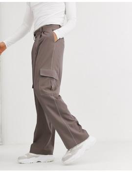 Asos Design   Pantalon Large Habillé Taille Haute à Surpiqûres Contrastantes Et Poches Cargo   Marron by Asos Design