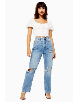 Mid Blue Ripped Dad Jeans by Topshop