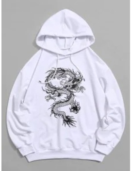Popular Sale Dragon Graphic Drawstring Loose Hoodie   White S by Zaful