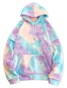 Popular Tie Dye Pullover Fleece Drawstring Hoodie   Blue L by Zaful