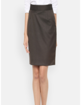 Brown Solid Straight Skirt by Allen Solly Woman