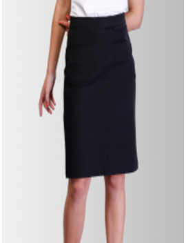 Women Black Solid Straight Knee Length Skirt by Fable Street