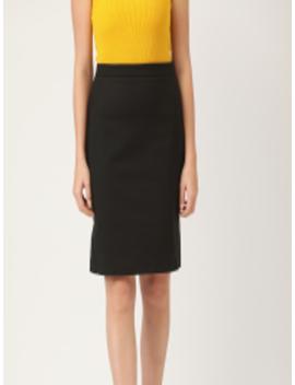 Women Black Solid Straight Skirt by Mango