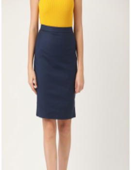 Women Navy Blue Solid Straight Skirt by Mango
