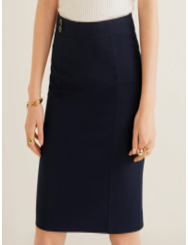 Women Navy Blue Solid Formal Straight Skirt by Mango