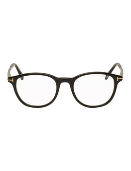 Black Blue Block Soft Round Glasses by Tom Ford
