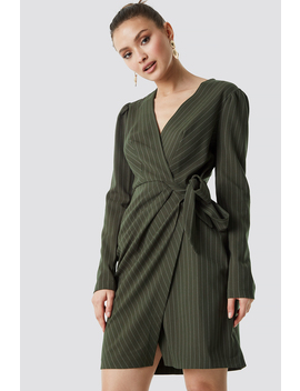 Striped Wrapped Midi Dress Grøn by Trendyol