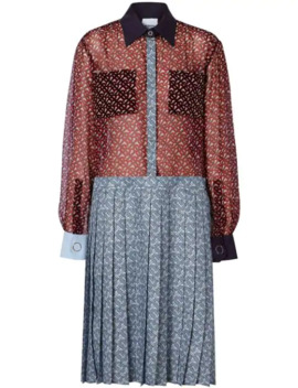 Monogram Print Silk Chiffon Pleated Shirt Dress by Burberry
