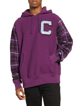 Plaid Print Hooded Sweatshirt by Champion