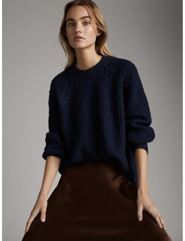 High Neck Purl Knit Wool Sweater by Massimo Dutti