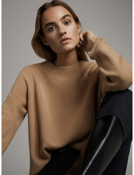 Purl Knit Funnel Neck Wool Sweater by Massimo Dutti