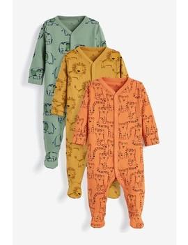 Khaki/Rust/Ochre 3 Pack Multi Animal Sleepsuits (0mths 2yrs) by Next