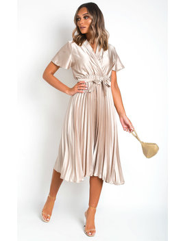 Ingrid Satin Pleat Midi Dress In Beige by Ikrush