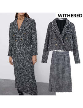 Witheredengland Office Lady Elegant Vintage Doubel Breasted Texture Blazer Women Jackets Long Skirt Women Faldas 2 Pieces Sets by Ali Express