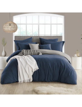 Porch & Den Crane Extra Soft Reversible Crinkle Duvet Cover Set   Full   Queen   Navy by Porch & Den