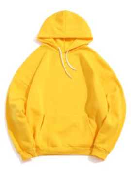 Popular Sale Solid Color Pocket Design Casual Hoodie   Yellow L by Zaful