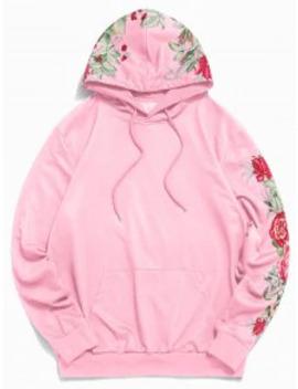 Popular Salezaful Floral Leaf Printed Casual Pocket Hoodie   Sakura Pink S by Zaful
