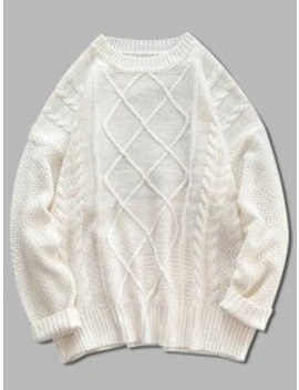 Popular Solid Cable Knit Drop Shoulder Pullover Sweater   Blanched Almond M by Zaful