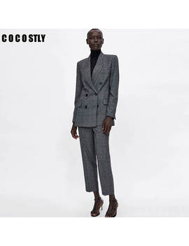 Women Suit Casual Plaid Two Pieces Sets Pant Suits 2019 Autumn Double Brested Blazers Coats And Pants Female Pant Suits Clothes by Ali Express