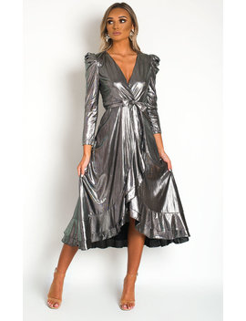 Mary Metallic Maxi Dress In Silver by Ikrush