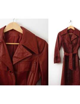 Size Xs Leather Trench Coat Vintage 1970s 70s Below The Knee Belted Structured Tailored Orange Red Brown Rusty Iconic Long Lined Jacket by Etsy