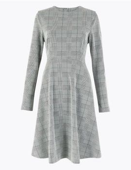 Checked Ponte Fit & Flare Dress by Marks & Spencer