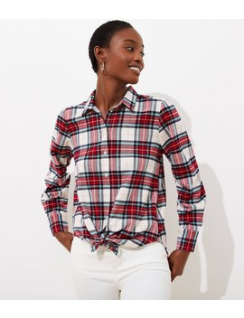 Petite Shimmer Plaid Button Down Shirt by Loft