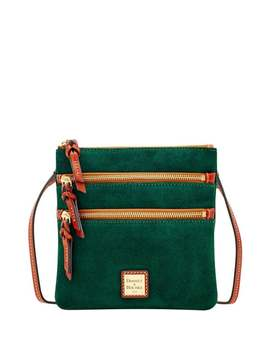 Dooney & Bourke Suede North South Triple Zip Shoulder Bag (Introduced By Dooney & Bourke In ) by Dooney & Bourke