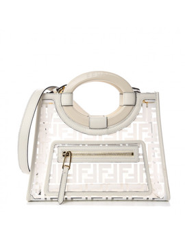 Fendi Tpu Ff Small Glass Runaway Shopper Tote White by Fendi