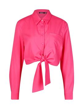 Long Sleeve Collared Tie Up Front Shirt by Boohoo