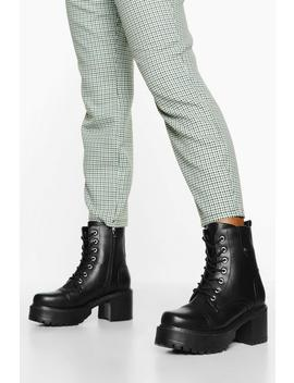 Block Heel Lace Up Hiker Boots by Boohoo
