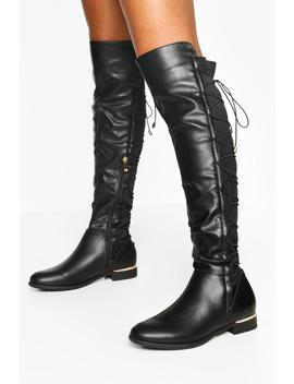 Lace Back Knee Boots by Boohoo