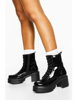 Patent Block Heel Lace Up Hiker Boots by Boohoo