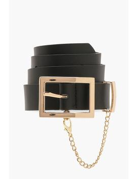 Plus Rectangle Buckle & Chain Belt by Boohoo