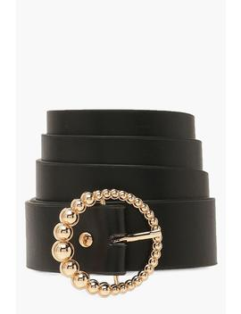 Gold Beaded Circle Buckle Belt by Boohoo