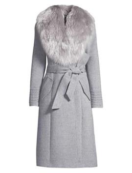 Fur Collar Alpaca Blend Long Coat by Sentaler