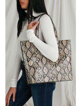 Smooth Talk Beige Snake Print Tote Bag by Lulus