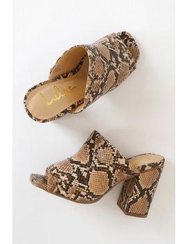 Raelynn Tan Python Croc Peep Toe Mules by Lulus