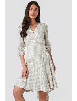 Linen Look Wrap Over Checked Dress Grå by Na Kd Trend